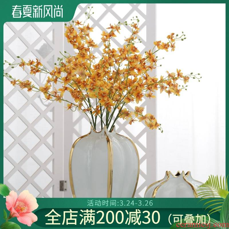 Jingdezhen ceramic vases, flower adornment household light key-2 luxury furnishing articles sitting room to the balcony a hydroponic flowers simulation flowers