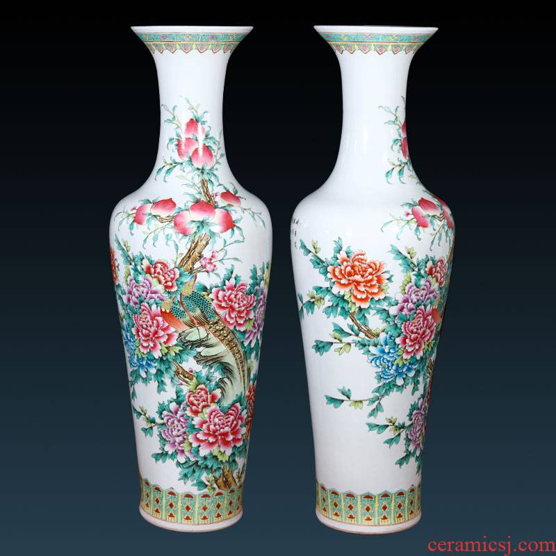 Jingdezhen ceramics antique hand - made pastel of large vases, Chinese style villa living room TV cabinet porch place