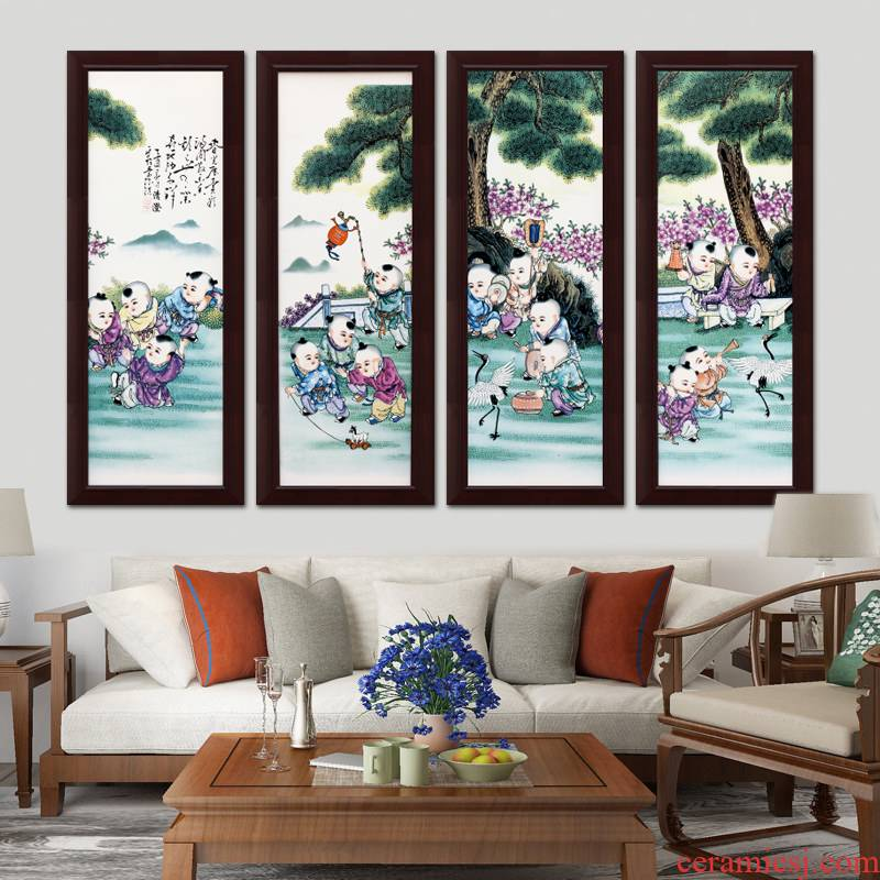 Jingdezhen enamel baby play figure adornment ceramic painting the living room sofa setting wall mural porch corridor teahouse