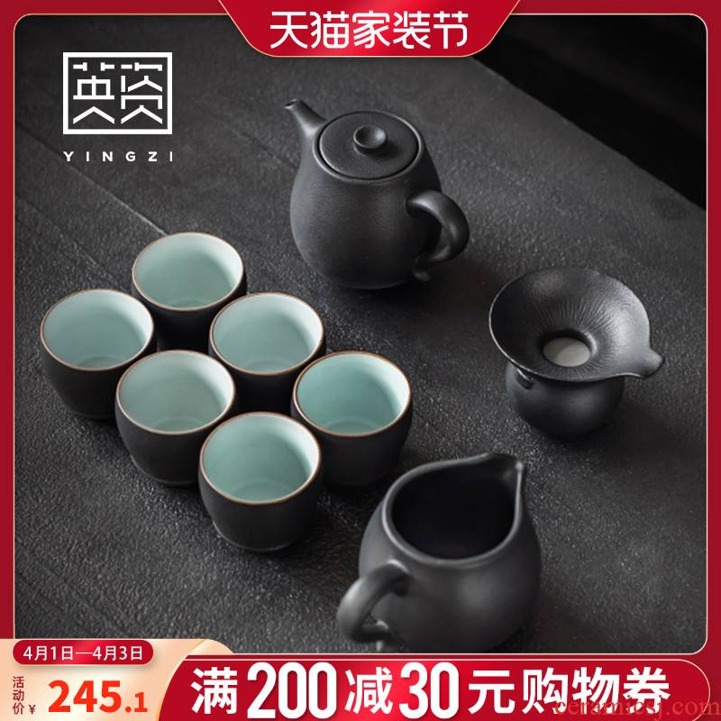 British ceramic tea set office teapot teacup Japanese contracted household kung fu of a complete set of six cups of tea