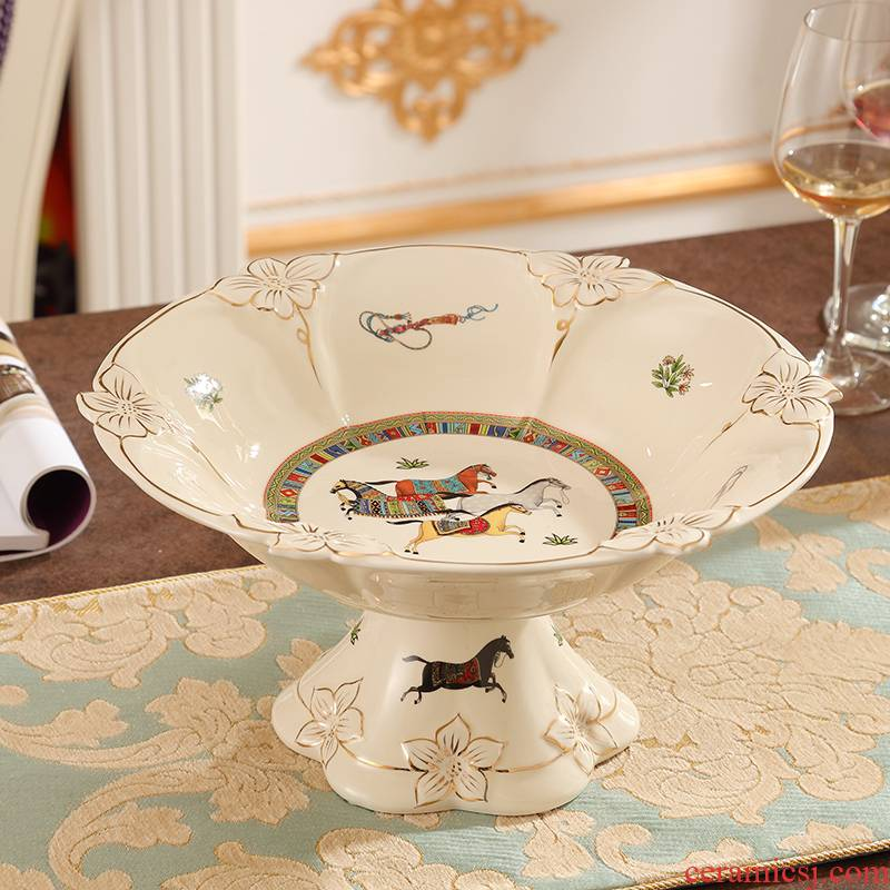 American creative ceramic fruit bowl European compote suit sitting room key-2 luxury decoration furnishing articles tea table