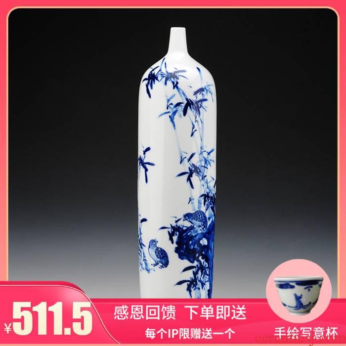 Jingdezhen ceramics hand - made modern minimalist art ground vase vase of blue and white sitting room adornment