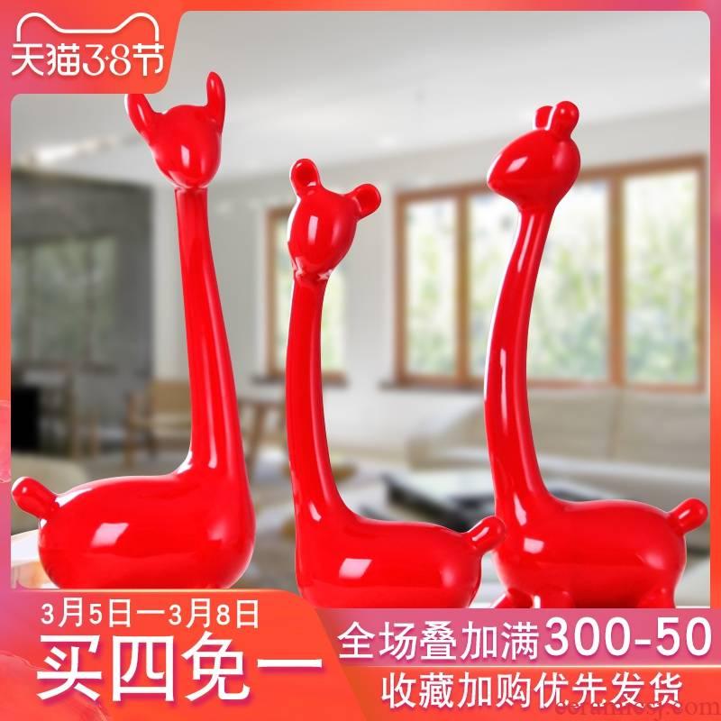 Modern living room TV cabinet furnishing articles home decoration wedding gifts ceramic handicraft three deer