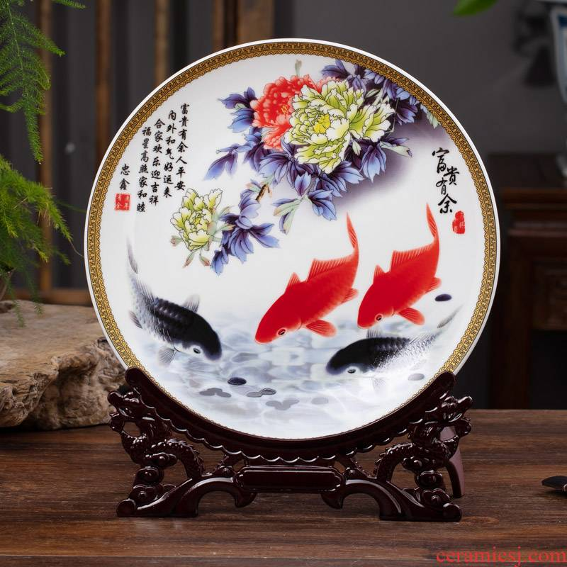 Jingdezhen ceramic decoration plate bracket furnishing articles of Chinese style household wine crafts hang dish sat dish more every year