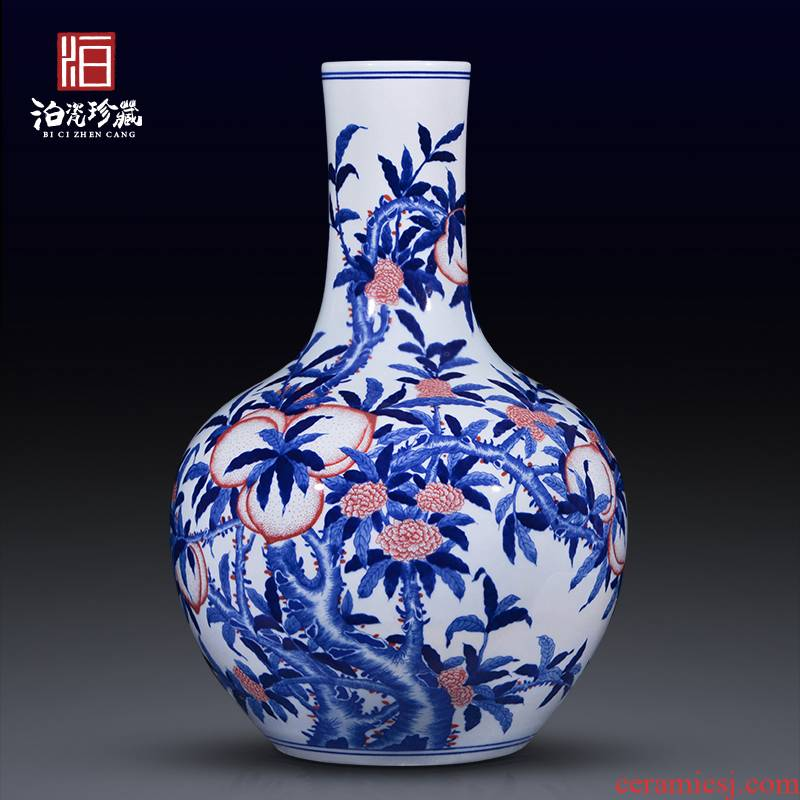 Jingdezhen blue and white antique ceramics large vases, new Chinese style household living room TV ark adornment flowers furnishing articles