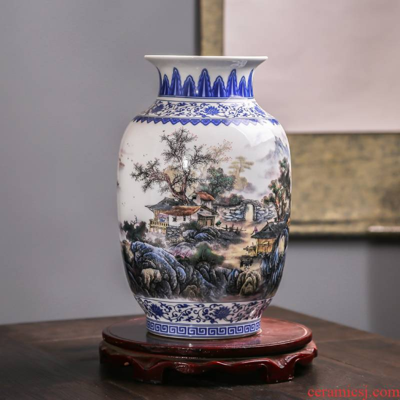 Jingdezhen ceramic antique hand - made large blue and white porcelain vase furnishing articles sitting room porch decoration decoration flower arranging new Chinese style