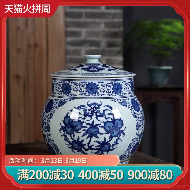 Jingdezhen ceramics hand - made five blessings puer tea cake storage jar tea canister decorative furnishing articles
