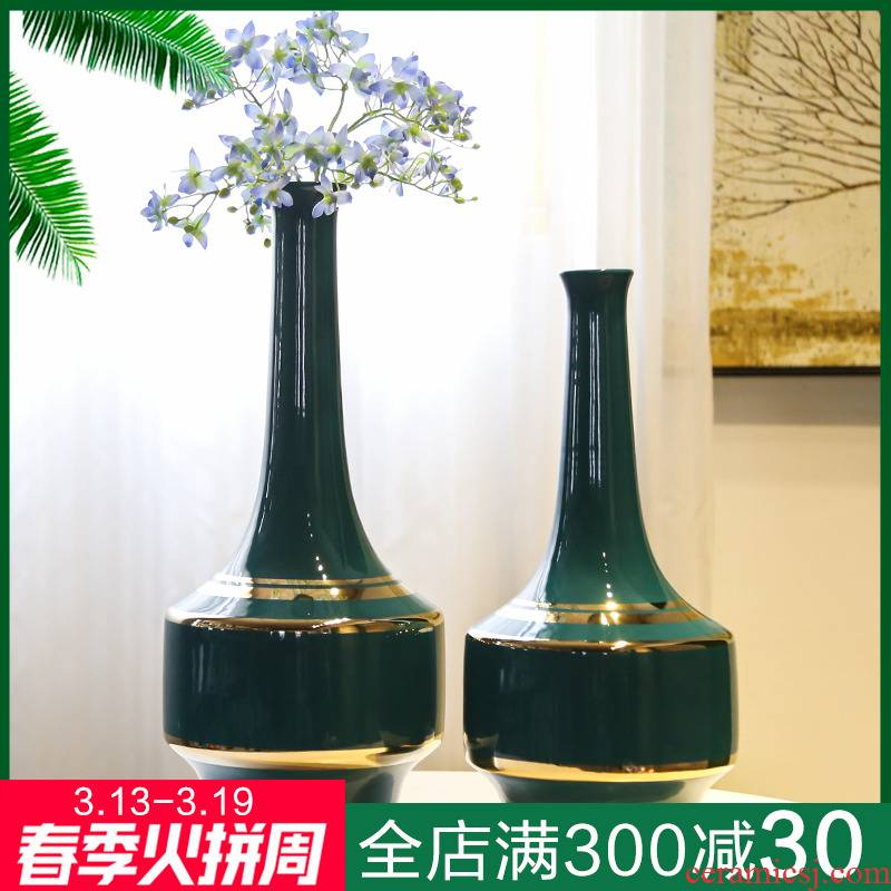 The New Chinese jingdezhen ceramic vase continental American hotel villa decoration mesa between example flower big furnishing articles