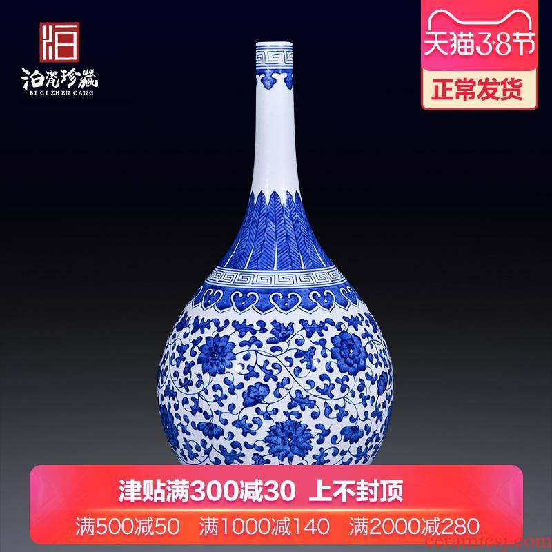 Jingdezhen ceramics archaize sitting room porch Chinese style household adornment bedroom table of blue and white porcelain vase furnishing articles