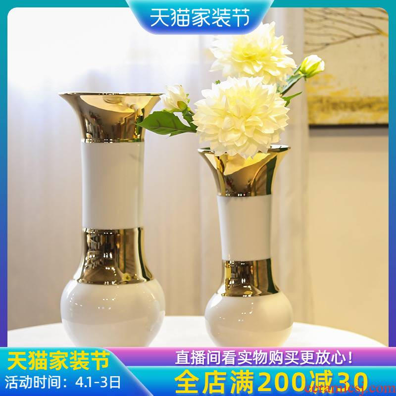 Jingdezhen European ceramic vases, light key-2 luxury furnishing articles decorations household simulation flower arranging flowers sitting room TV cabinet decoration