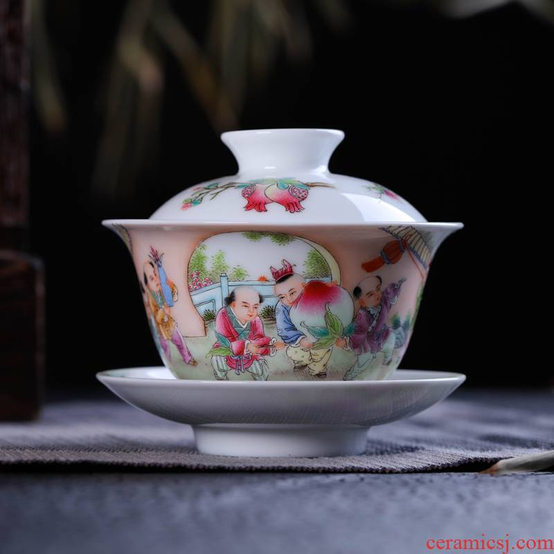 Offered home - cooked ceramic kung fu tea bowls in jingdezhen porcelain tea tureen only three cups of hand - made home three mercifully tea cups