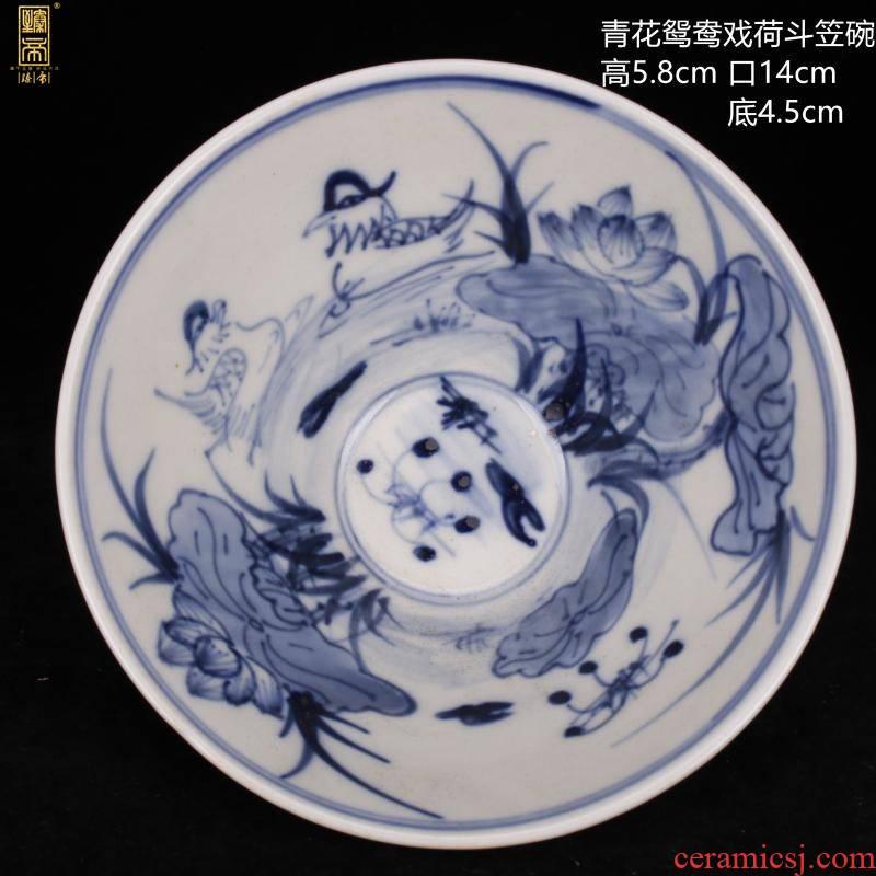 Archaize of jingdezhen blue and white porcelain mandarin duck play Dutch landscape hat to bowl of antique reproduction retro decoration antique furnishing articles