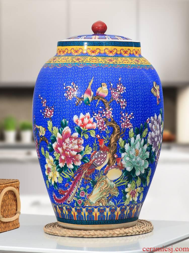 Jingdezhen ceramic with cover barrel ricer box 20 jins 30 jins 50 kg pack household moistureproof cylinder tank rice storage tank
