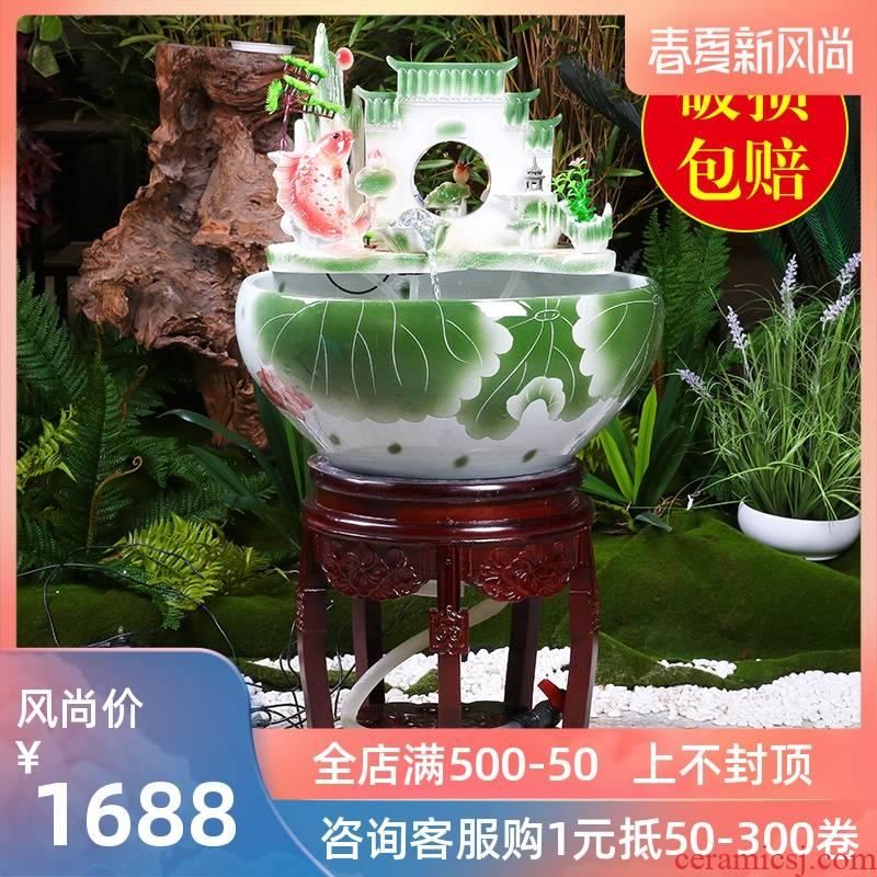 Jingdezhen ceramic column type filter water fountain water tank sitting room adornment humidifying furnishing articles fish bowl