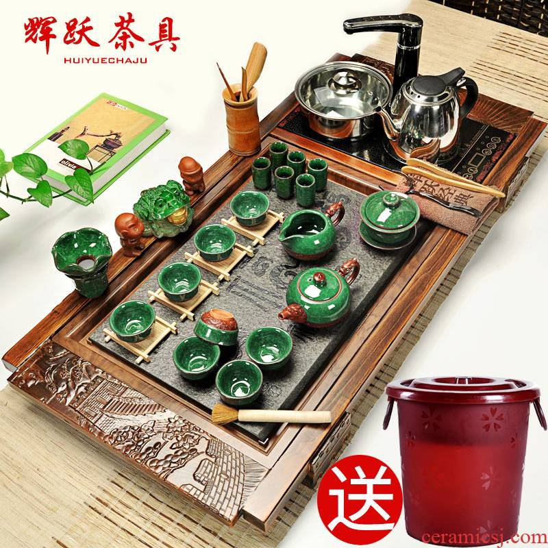 Hui, make violet arenaceous kung fu tea set a complete set of ceramic household your up induction cooker sharply stone solid wood tea tray of tea table