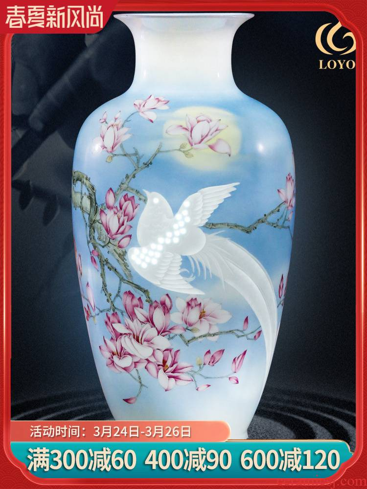 Jingdezhen ceramic furnishing articles hand - made vases, flower arranging new Chinese style household living room TV cabinet decoration handicraft furnishing articles