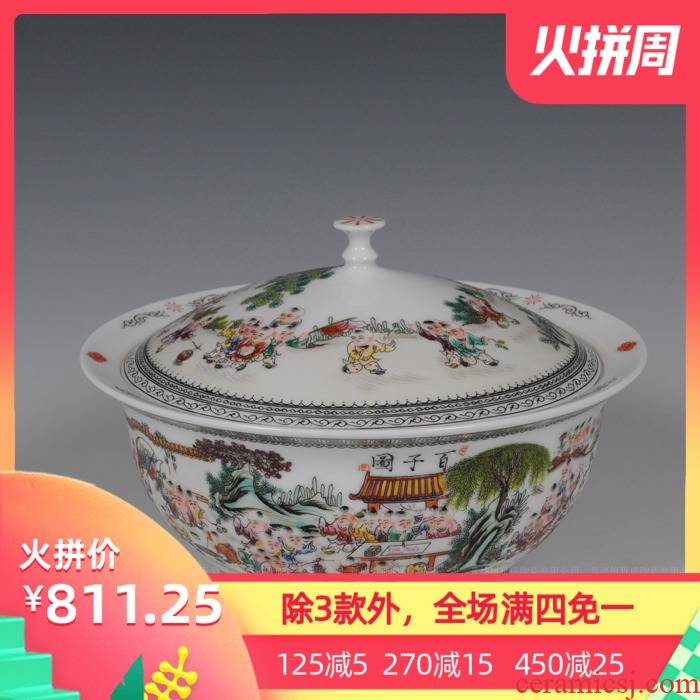 Jingdezhen ceramics tureen hand - made pastel Wang Rongjuan master of the ancient philosophers, Zhang Bingxiang hundred aspen parlance checking porcelain