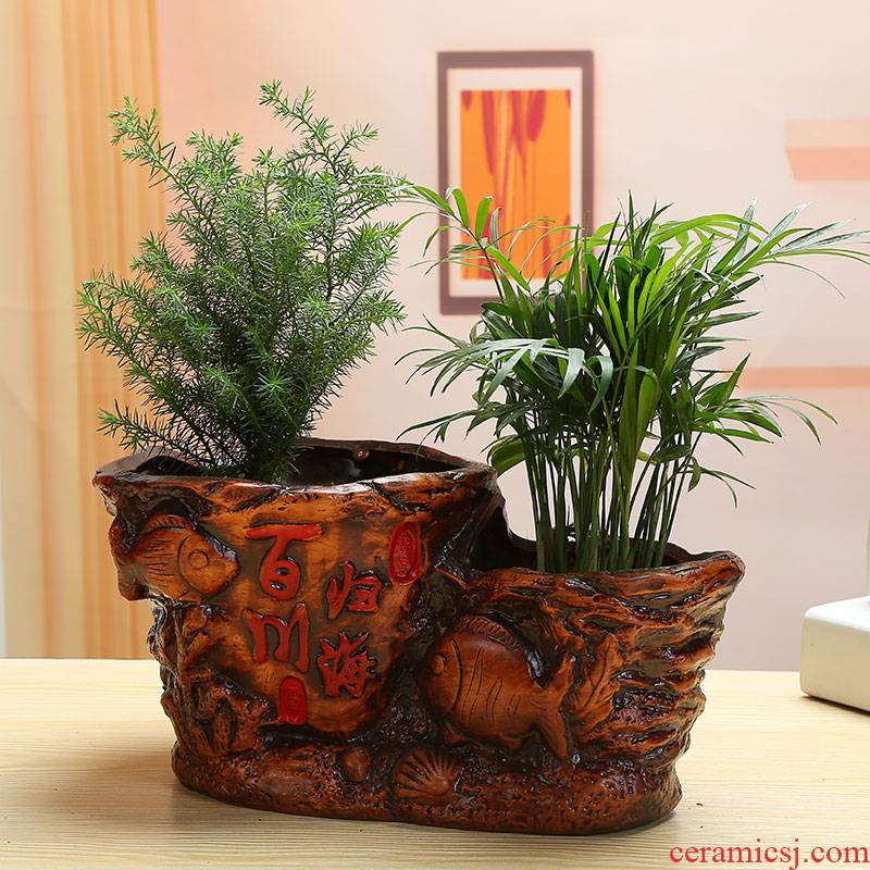 European extra large fortune ceramic banyan tree flower pot pot sitting room riches and honour auspicious ganoderma lucidum bonsai place flowerpot
