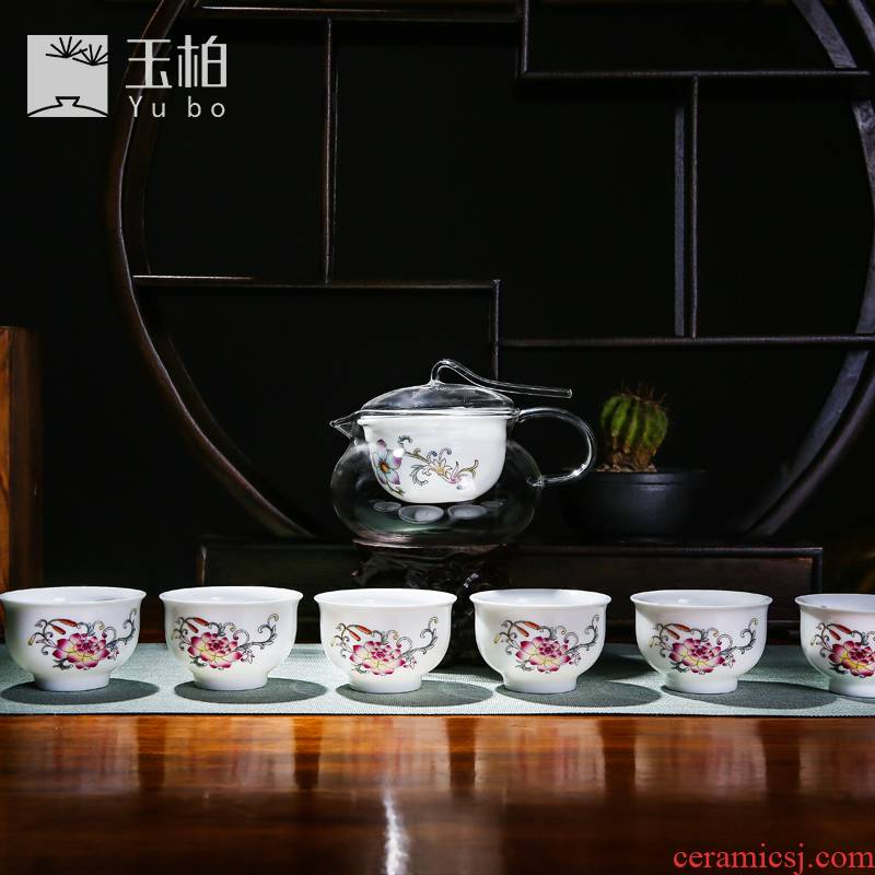 Jingdezhen ceramic tea sets tea cups white porcelain famille rose tea set kung fu tea is high temperature resistant glass) points