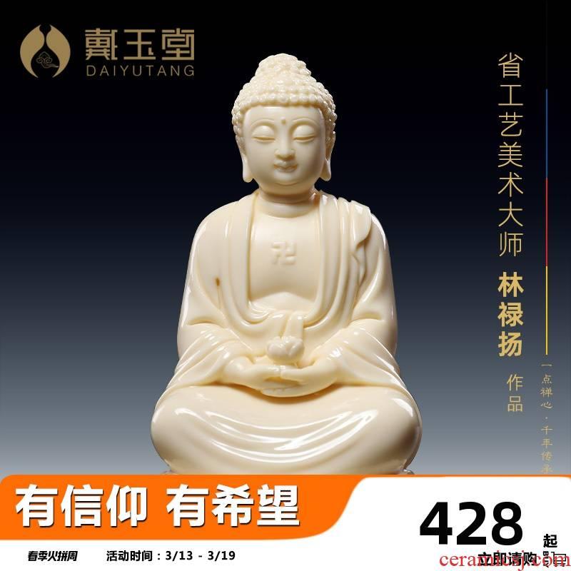 Yutang dai ceramic automotive vehicle with penjing jade red porcelain small figure of Buddha shakyamuni Buddha amitabha Buddha