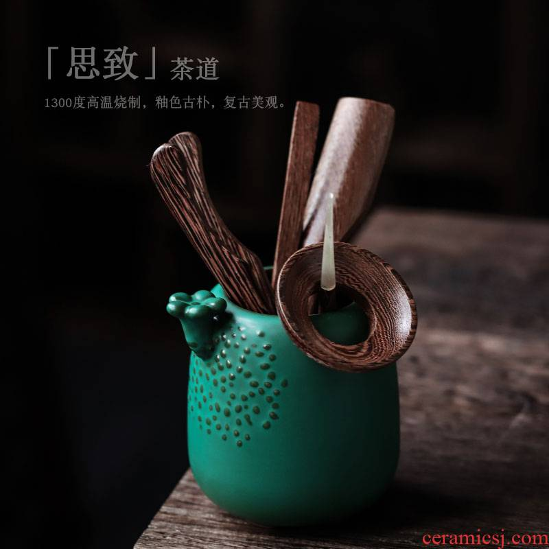 ShangYan ceramic tea six gentleman ebony grain kung fu tea sets accessories ChaGa teaspoon of Japanese tea taking