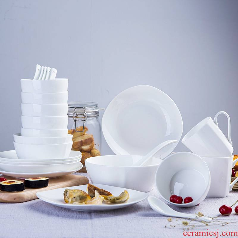 With 24 square head set tableware jingdezhen pure white ipads China western - style dishes dishes mailed home to pack