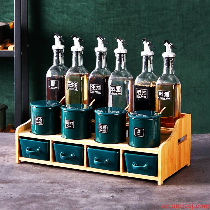 Nordic light key-2 luxury dressing boxed set combined with household ceramics glass oil salt seasoning jar jar kitchen supplies