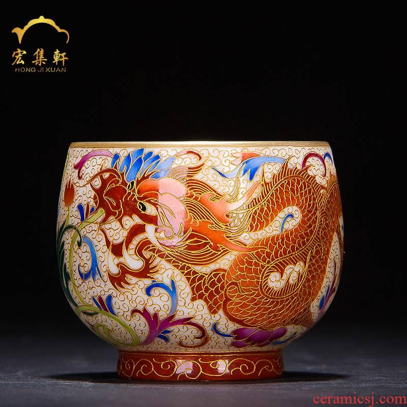 Ceramic cups master cup single cup pure manual colored enamel paint longfeng meditation cup jingdezhen noggin kung fu