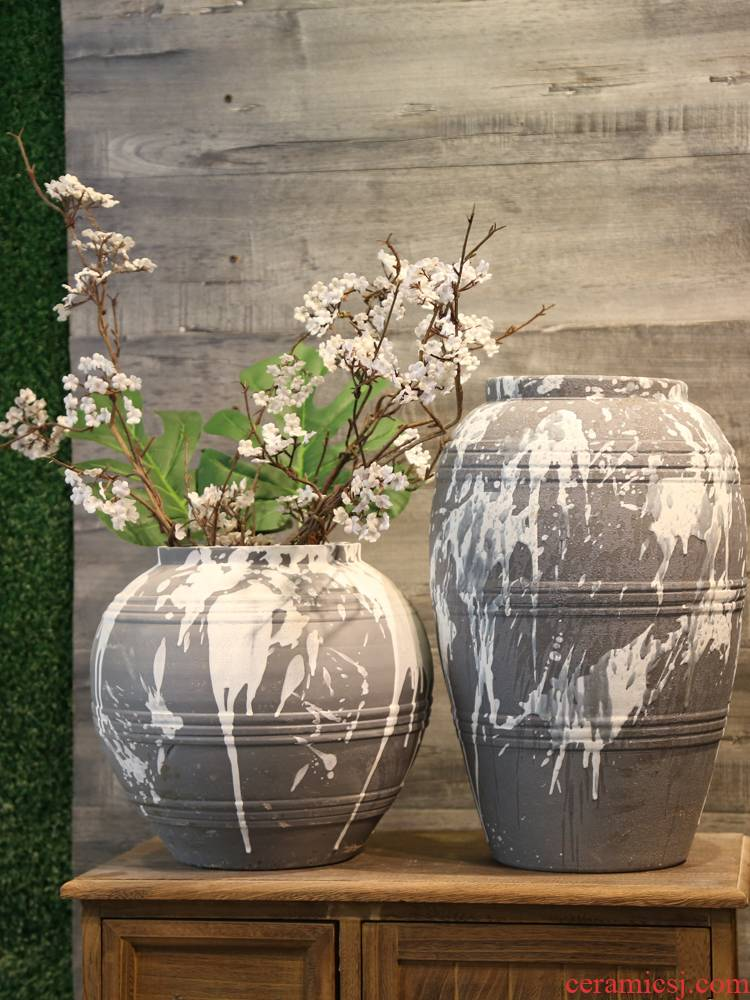Jingdezhen checking retro mesa vase teahouse adornment between example simulation flower, dried flower flower ceramic big furnishing articles