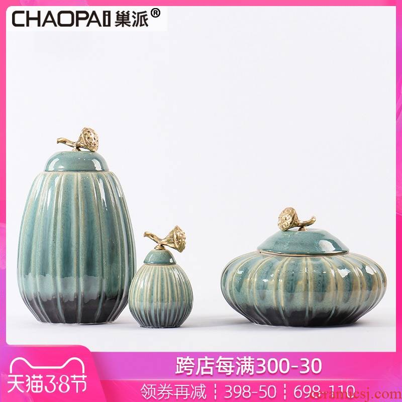 The new Chinese style pumpkin jars China club floor front desk closet brass lotus cover handle soft decoration