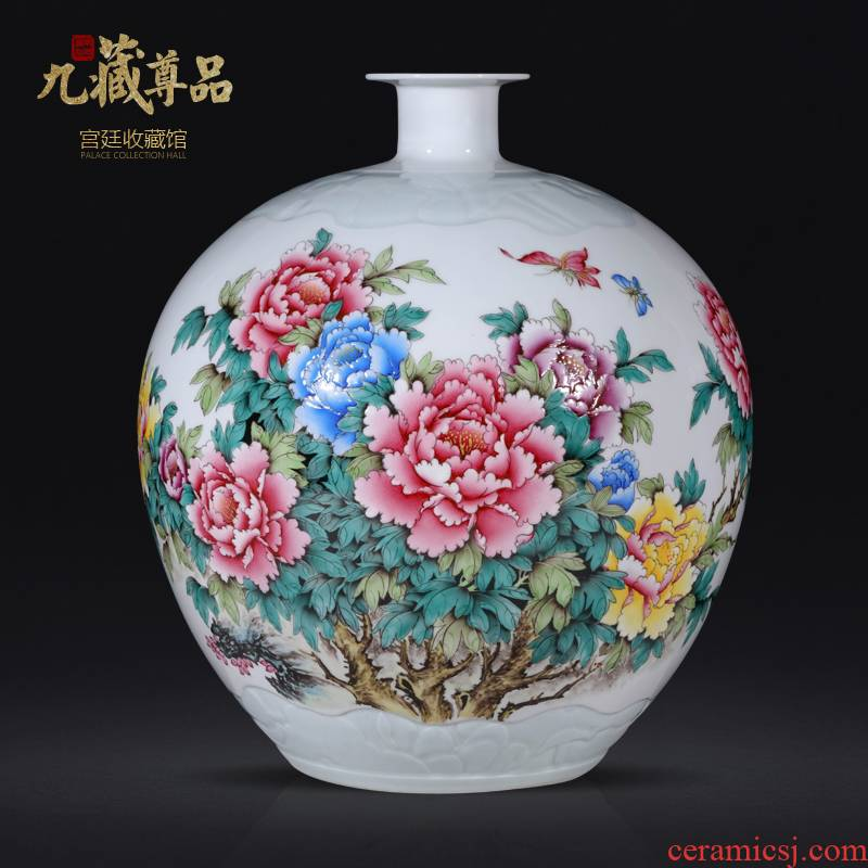 Jingdezhen ceramics hand - made famille rose blooming flowers, pomegranate bottles of Chinese style living room porch TV ark, flower arranging furnishing articles