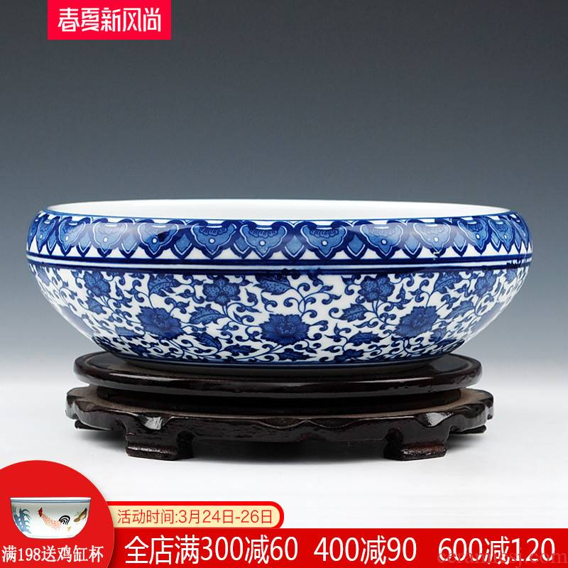 Jingdezhen blue and white ceramics shallow goldfish bowl the tortoise GangPen lotus lotus plant daffodils home furnishing articles