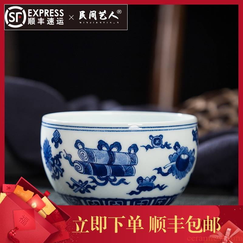 Hand the blue and white porcelain of jingdezhen ceramic masters cup sweet auspicious sample tea cup kung fu tea set and single CPU big bowl