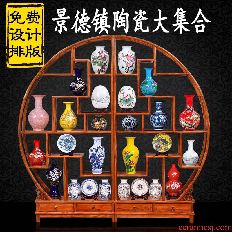 Jingdezhen ceramics floret bottle of new Chinese style home sitting room adornment of TV ark, wine rich ancient frame furnishing articles