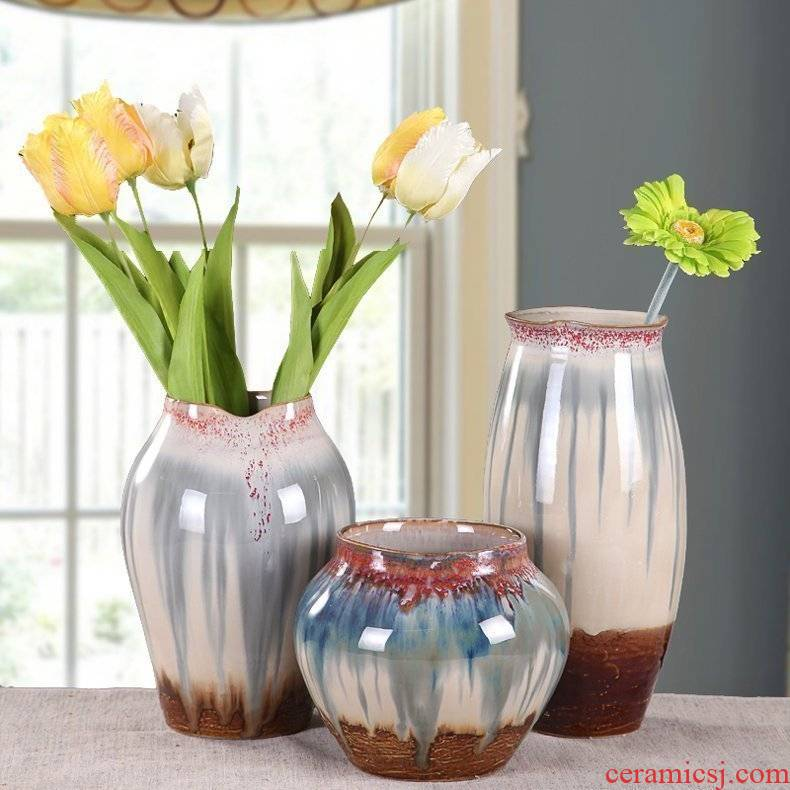 Jingdezhen ceramic vase household act the role ofing is tasted ceramic craft flower implement I and contracted Europe type three - piece vase