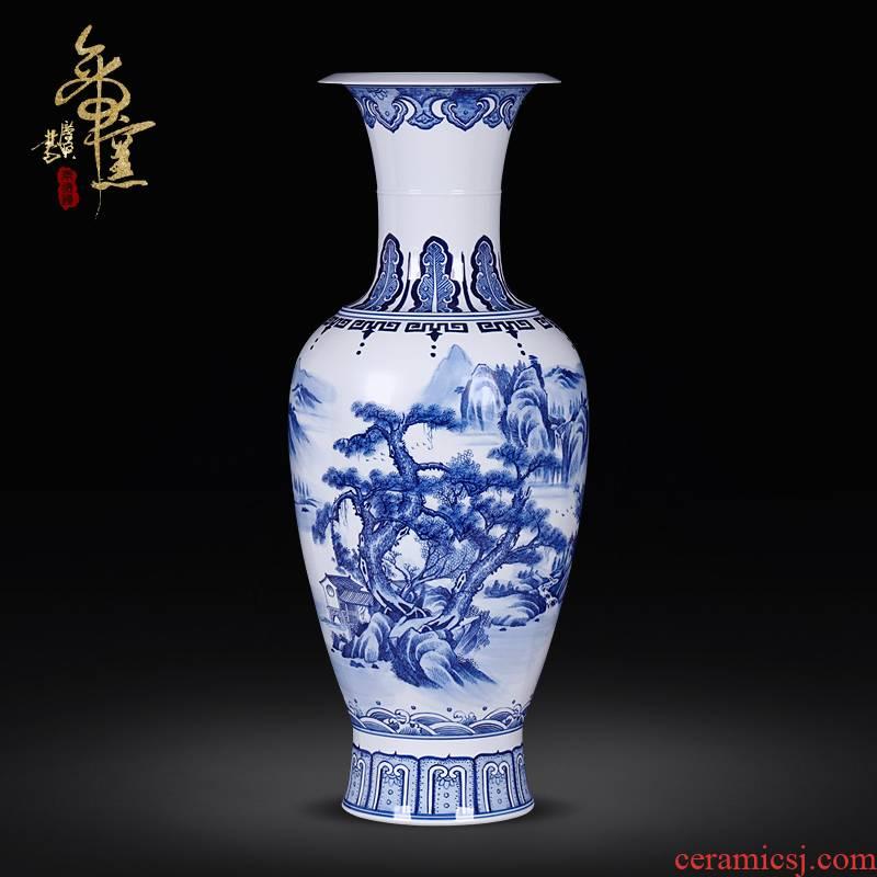 Jingdezhen blue and white landscape hand - made ceramics vase modern Chinese style living room TV cabinet decoration handicraft furnishing articles