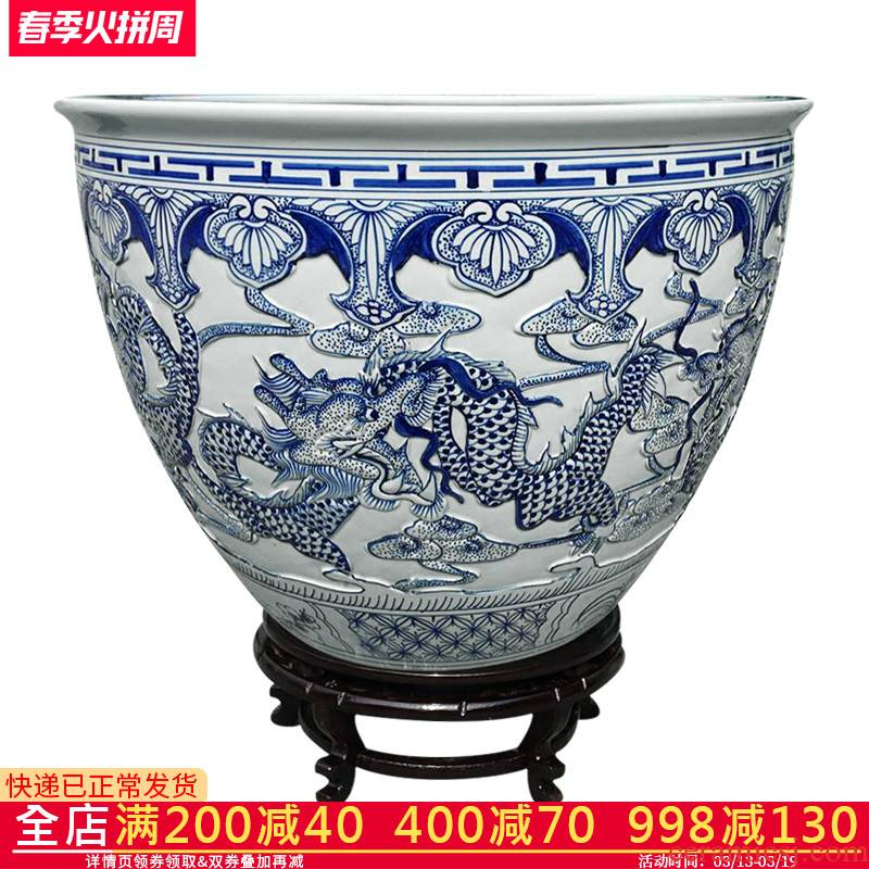 C123 basin of jingdezhen ceramics aquarium water lily bowl lotus goldfish turtle cylinder longfeng fish bowl large porcelain