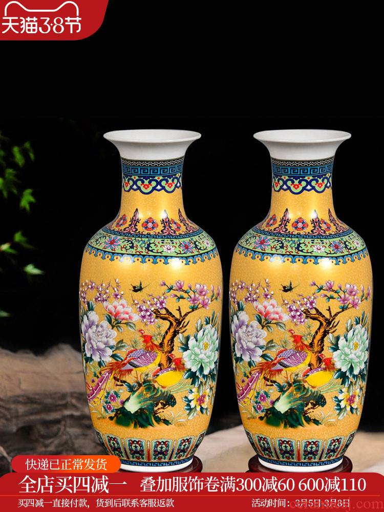 Jingdezhen ceramics dried flowers of large vases, flower arranging high household TV ark, adornment is placed large living room