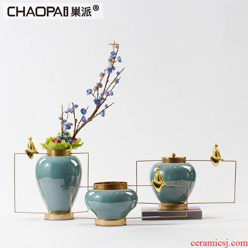 New classical flower arranging the ceramic vase furnishing articles floor example room porch ark combination, wrought iron zen take place