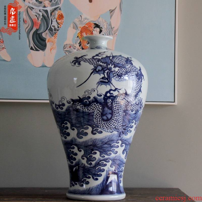Blue and white porcelain of jingdezhen ceramics ceramic big flower flower adornment flowers in household porcelain mesa furnishing articles