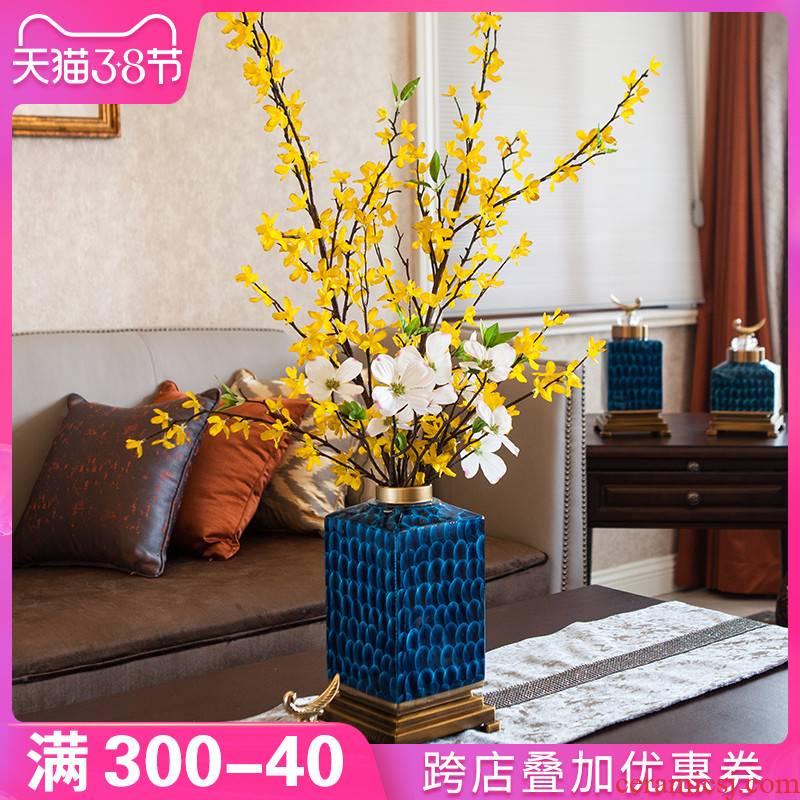 American key-2 luxury light blue vase ceramic furnishing articles European household living room TV cabinet dry flower arranging flowers adornment ornament