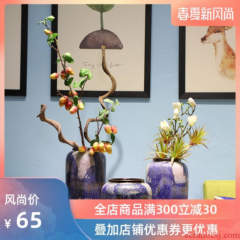 The new American country jingdezhen ceramic vase furnishing articles sitting room creative household soft adornment coarse pottery arranging flowers