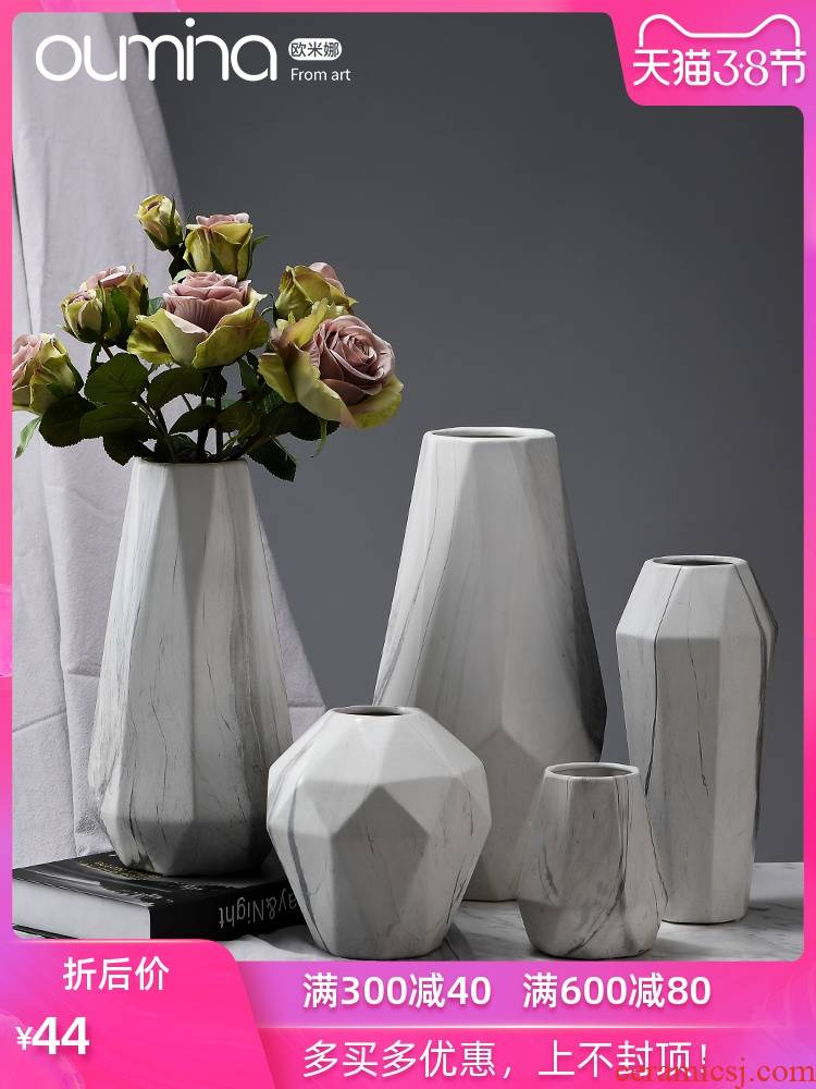 I and contracted marble ceramic flower implement furnishing articles creative home sitting room ground dried flowers flower arrangement table decorations