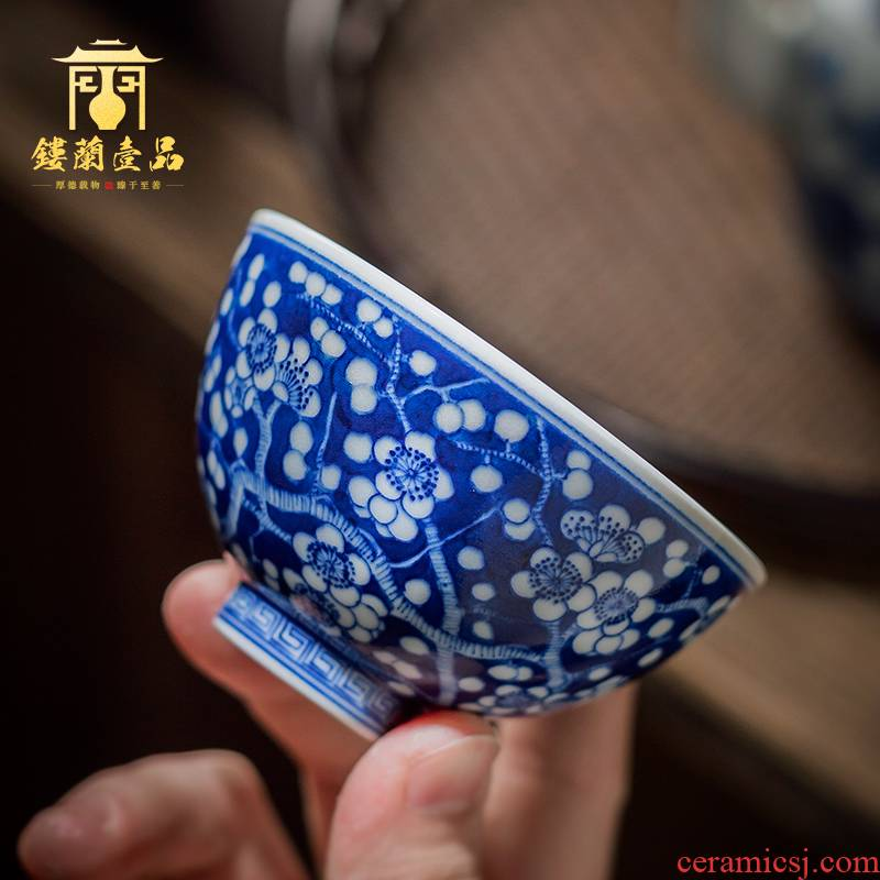 Jingdezhen ceramic hand - made maintain blue ice name plum heart cup of kung fu tea master cup sample tea cup small tea cups