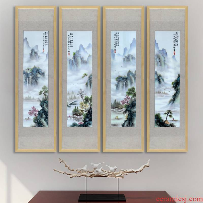 New Chinese style decoration Chinese style porch hang a picture pastel landscape view villa lobby hall murals porcelain plate painting