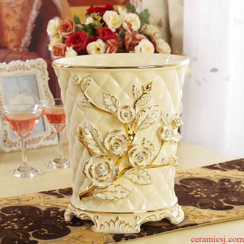 Fort SAN road creative ceramic trash as cans sitting room home decoration umbrella receive basket European soft adornment is placed