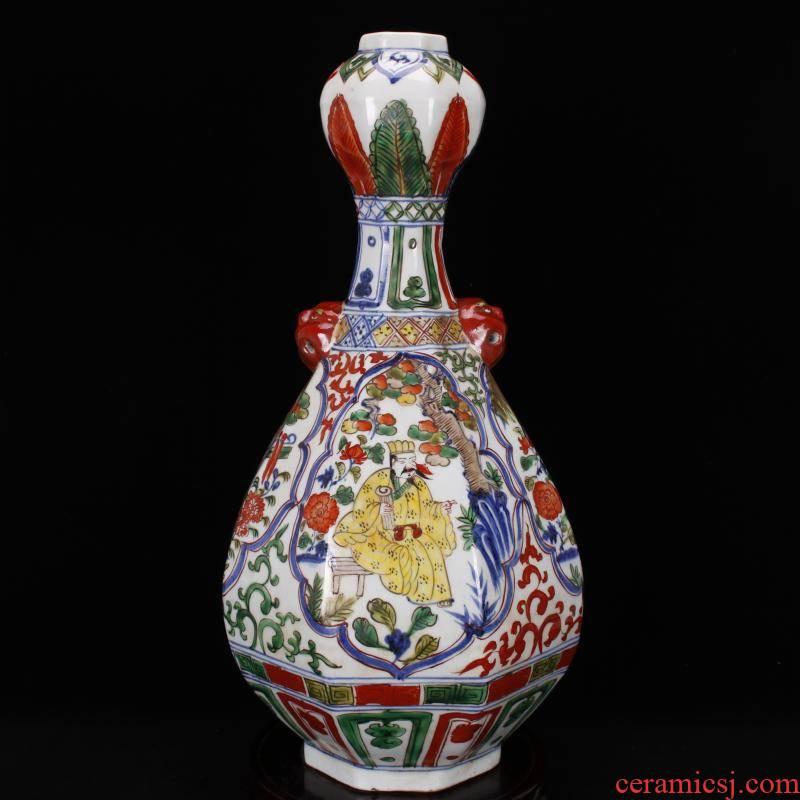 Jingdezhen antique antique imitation yuan wen mei bottles of vintage ceramic decoration a colorful window figure collection