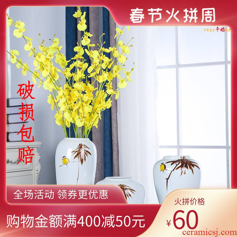 Jingdezhen porcelain ceramic furnishing articles desktop vase hand - made painting of flowers and bamboo contracted and I American decorating the living room