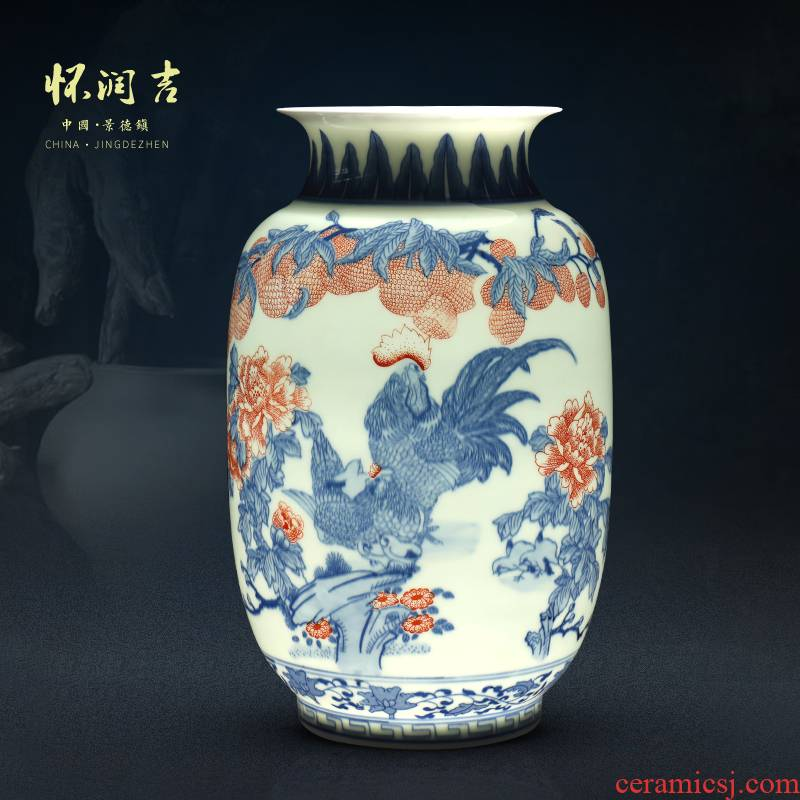 Jingdezhen blue and white youligong hand - made ceramic vase vase and exquisite porcelain vase modern Chinese ancient frame furnishing articles