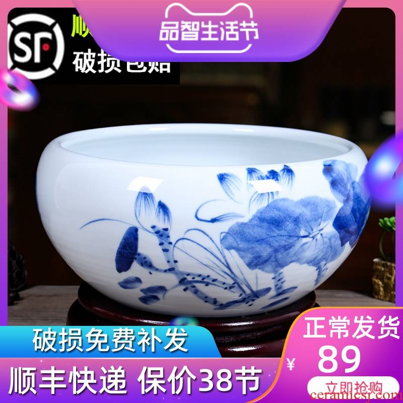 Jingdezhen ceramic aquarium of little golden fish shallow water lily refers to lotus basin to the tortoise cylinder desktop fish